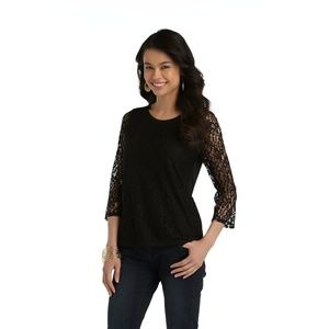 Covington Black Three- Quarter Sleeve Lace Top
